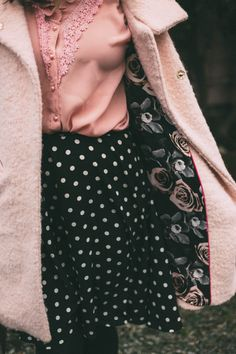 Pink coat, Pink blouse, Vintage, fashion, polka dot circle skirt, spring fashion, Victorian house, pink house, doll house,