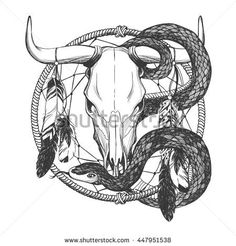 Bull skull with feathers, snake and dreamcatcher. Native American Indian talisman. Vector hand drawn hipster illustration isolated on white background. Boho design, tattoo art, coloring book.