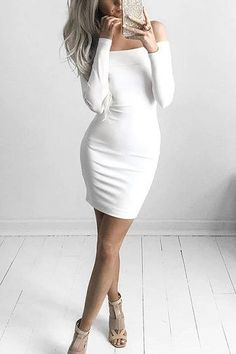 White Off Shoulder Long Sleeve Dress