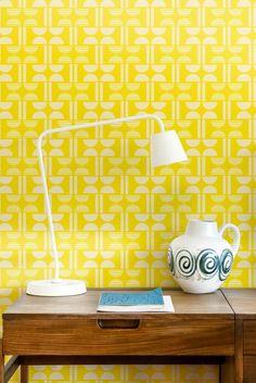 A fun retro wallpaper design, featuring an all over geometric pattern.