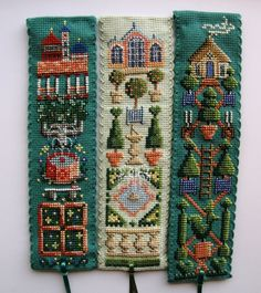 Textile Heritage Garden cross stitch bookmarks Pt 1. L-R: Cloister,Orangery,Topiary.