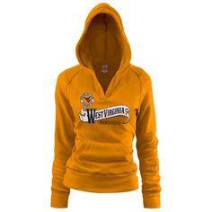 West Virginia Mountaineers Ladies Old Gold Rugby Distressed Deep V-Neck Pullover Hoodie Sweatshirt
