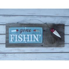 Gone Fishing Wood Sign Reclaimed Barn Wood With Wood Lure Sign Wall... ($25) ❤ liked on Polyvore featuring home, home decor, wall art, grey, home & living, wood wall hanging, grey wall art, wood wall art, reclaimed wood signs and wooden fish wall art