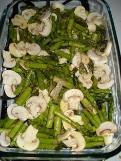 Vegan, Gluten-Free - Oven Roasted Asparagus and Mushrooms  Ingredients: -1 bunch of asparagus (we used two bunches so wed have leftovers!) -1/2 package white mushrooms -olive oil -salt, pepper, and garlic powder, to taste  Directions: 1. Wash and chop asparagus into one inch pieces. Slice mushrooms. 2. Add both vegetables to a baking dish. Lightly coat with olive oil, mixing to ensure that everything is evenly coated. 3. Sprinkle with salt, pepper, and garlic powder.