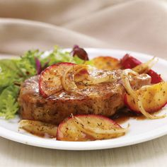 Apple and pork chops are enhanced by sage in this family favorite dish.  Yummo!