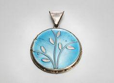 Art Deco 800 Silber Emaille Brosche Gomina