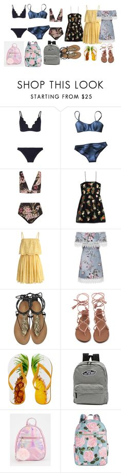 """""""one day  of friends beach"""" by katherine-hola on Polyvore featuring moda, Zimmermann, Lisa Marie Fernandez, Alice + Olivia, Chicwish, WearAll, Roberto Cavalli, Vans y ban.do"""