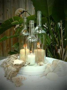 Wine Bottle Wedding Centerpiece // Beach wedding by ninakristine