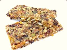 Fruit, seed and nut power bar recipe, with the added bonus of the nutritional info at the bottom of the recipe.