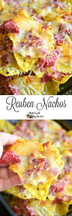 Reuben Nachos. Awesome nachos made to taste just like the Reuben sandwich. Cheesy, crunchy, fantastic...