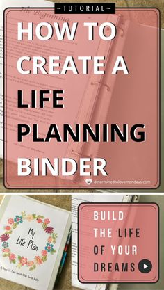 To Create A Life Planning Binder Put together a life planning binder to move effectively towards your dreams, goals and priorities in your life.Put together a life planning binder to move effectively towards your dreams, goals and priorities in your life. To Do Planner, Goals Planner, Planner Pages, Life Planner, Printable Planner, Happy Planner, Printables, Planner Ideas, School Planner