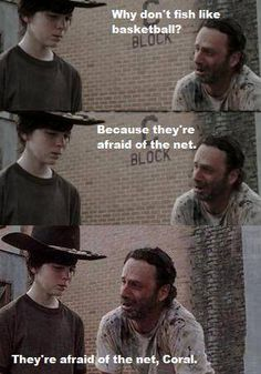 I can't stop laughing Walking Dad Jokes, Bad Dad Jokes, Walking Dead Funny, Fear The Walking Dead, Funny Jokes, Hilarious, Walking Dead Coral, Walking Dead Clothes, Funny Images