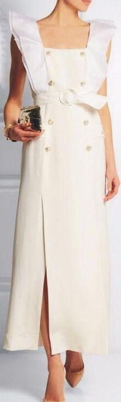 Ruffled-Sleeve Double-Breasted Midi Dress