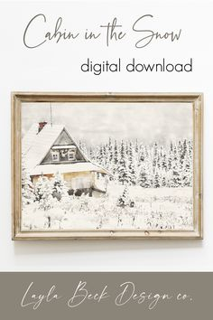 Christmas Wall Art, Christmas Paintings, Cozy Christmas, A Christmas Story, White Christmas, Free Printable Artwork, Free Printables, Snow Cabin, Winter Painting