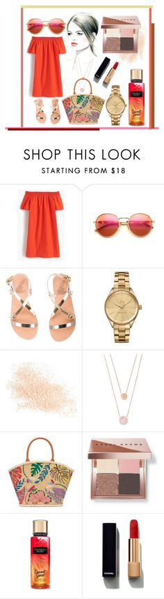"""Reddish"" by karimaputri on Polyvore featuring J.Crew, Wildfox, Ancient Greek Sandals, Lacoste, Eve Lom, Michael Kors, Tory Burch, Bobbi Brown Cosmetics and Chanel"