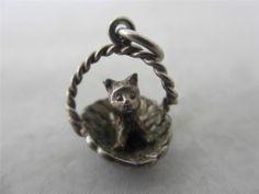 VINTAGE ENGLISH CHARM c1960 STERLING SILVER KITTEN PUSSY CAT IN BASKET   eBay