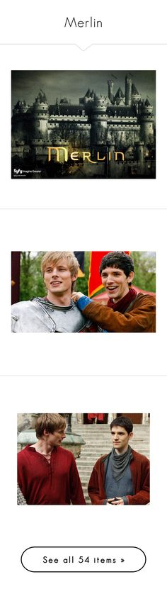 """Merlin"" by lois-lane-kent ❤ liked on Polyvore featuring merlin, words, people, brown, merthur, red, boys, colin morgan, backgrounds and pictures"