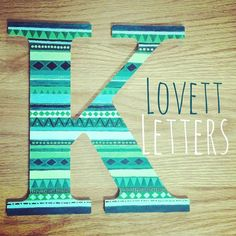 Aztec Hand Painted Letter by LovettLetters on Etsy, #handpainted #sororityletters