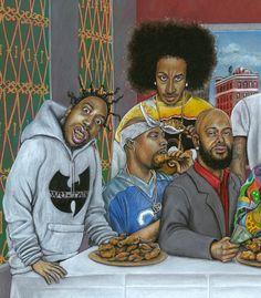 Rap's Last Supper - print Dope Cartoons, Dope Cartoon Art, Famous Cartoons, Rap Us, Arte Do Hip Hop, Naughty Emoji, Trill Art, Hip Hop Classics, Rapper Art