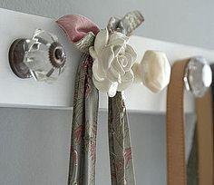 Coat rack ideas: mis-matched knobs