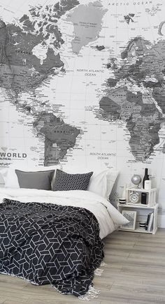 83 best world map wallpaper images on pinterest bedroom ideas black and white map wallpaper mural muralswallpaper gumiabroncs Gallery