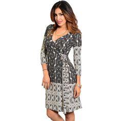 cc915dae60b @Overstock - Stanzino Women's Geometric Print Knee-length Wrap Dress - A  bold geometric