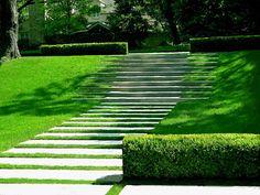 Step slope landscaping design.