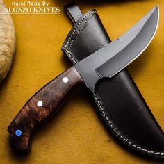 ALONZO KNIVES USA CUSTOM HANDMADE TACTICAL HUNTING 1095 KNIFE ROSE WOOD 447 #AlonzoKnives