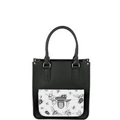 Premium Made in England Black/Bug Print Mini Leather Tote Bag
