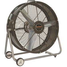 Red Portable Floor Fan On Strong Metal Leg With Wheels