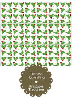 Christmas Holly Napkin Rings from PrintableTreats.com