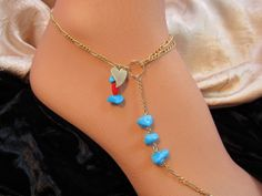 Turquoise & Coral Gold Filled Heart Charm Anklet by FayWestDesigns, $56.00