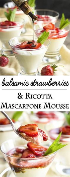 Mascarpone Mousse Balsamic Strawberry Mascarpone Mousse - Ricotta and mascarpone are whipped together in a light and flavorful mousse which is topped by balsamic strawberries in this yummy Italian style no bake dessert. Mousse Dessert, Dessert Ricotta, Mascarpone Dessert, Dessert Oreo, Coconut Dessert, Brownie Desserts, Köstliche Desserts, Delicious Desserts, Dessert Recipes