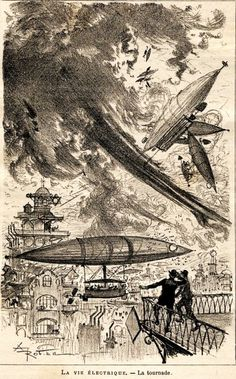 After reading these types of periodicals, many people said they really saw these types of craft in the sky. Jules Verne, Albert Robida, Machine Volante, Weird Science, Sci Fi Books, Types Of Craft, Retro Futurism, Dieselpunk, Belle Epoque
