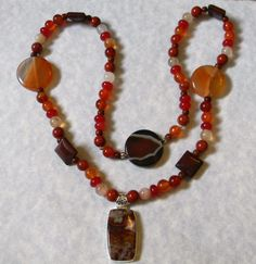 Crazy Agate and Shade of Orange Gemstone Pendant by EEEMAsBeads