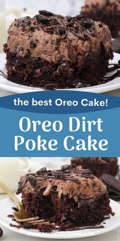 Drool-worthy Oreo Dirt Cake is an easy chocolate poke cake soaked in chocolate pudding and topped with an Oreo Dirt Pudding. Everyone will love this easy dessert recipe. Oreo Dirt Pudding, Oreo Dirt Cake, Chocolate Pudding, Super Moist Chocolate Cake, Best Chocolate Desserts, Homemade Chocolate, Oreo Cookie Recipes, Sweets Recipes, Oreo Mousse