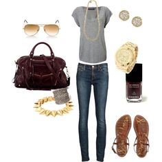 """""""Casual - Gold + Eggplant"""" by angela-reiss on Polyvore"""