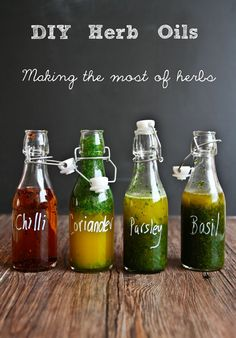 Herb oils to preserve your herbs for a week or two--would do these in small batches
