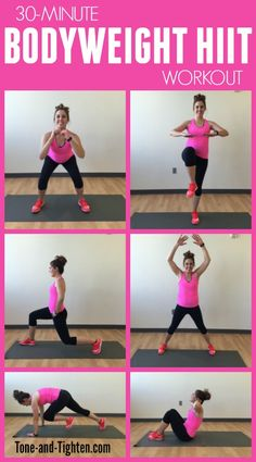 30-minute HIIT workout you can do at home with zero equipment required!   Tone-and-Tighten.com