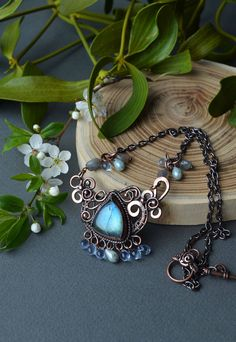 Labradorite necklace, wire wrapped necklace, blue labradorite, wire wrapped jewelry, Czech glass jewelry, copper necklace,  water necklace by dererumalieni on Etsy