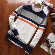 Men Brand 2018 Autumn Fashion Casual Striped Cotton Sweater Men O-Neck Warmheavengifs-heavengif Cotton Sweater, Men Sweater, Knit Sweaters, Winter Sweaters, Jumper, Classic Outfits, Casual Outfits, Autumn Fashion Casual, Fleece Hoodie