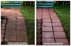 Pressure Washing - brick paver walkway- before and after #bigclean