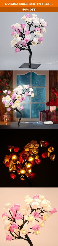 LANGRIA Small Rose Tree Table Lamp Battery Powered 48 Warm White LEDs and Adjustable Branches 17.72 inches/45 cm for Indoor Use, Wedding, Holiday, Festival, Party Decoration (White, Pink, Beige). Don't Miss Our Rose Tree Table Lamp Our rose tree table lamp comes with a bunch of colorful roses from white, pink to beige. You can DIY it to the shape you like, which is full of style and sophistication to your living room, bedroom, office or college dorm. A Lovely Lighting for You As a…