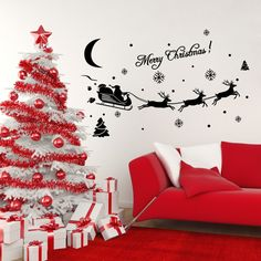 Window Scenery Santa Clause Sleigh Elk 3d Wall Sticker Vinyl Diy Christmas Wall Poster For Living Room Bedroom Kids Room Decor Year-End Bargain Sale Home & Garden Wall Stickers
