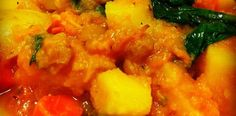 Pumpkin and Kale stew for crock pot - paleo 1/4 c. olive oil 1 c. yellow onion 1 tsp. Sea salt 1 1/4 tsp ground ginger 1 cinnamon stick 1/4 tsp. ground cumin 1/8 tsp. cayenne pepper Freshly ground black pepper 1 lb. fingerling potatoes 1 lb. carrots 1 lb. parsnips 3 c. chicken or vegetable broth 2 lbs. sugar baby pumpkin, peeled, seeded and diced 1 lb. sweet potatoes, peeled and large dice 1/2 c. golden raisins 4 c. loosely packed kale 1-2 T. apple cider vinegar