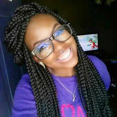 hairstyles for big box braids- could be for a young girl too!