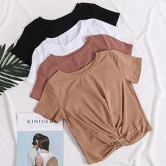 Buy Waist Knot Basic Cotton Short Sleeve T-shirts korean style Cheap Trendy Aesthetic Clothes and Gr Basic Outfits, Teen Fashion Outfits, Cute Casual Outfits, Beach Outfits, Tumblr Aesthetic Clothes, Aesthetic Shirts, Vetement Fashion, Clothing Photography, Tshirt Photography
