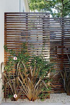 """Em vez de usar uma única peça, a paisagista Paula Galbi dispôs as duas folhas de 1,50 x 3 m desalinhadas. """"O vão de 70 cm entre as folhas permite a entrada de pessoas, sempre que for necessária a manutenção dos aparelhos, ou até mesmo para guardar o equipamento de limpeza da piscina"""", diz Paula. À frente das treliças, aparecem os maciços de fórmio-rubro (1) e o jasmim-estrela (2), que escala a estrutura rapidamente."""