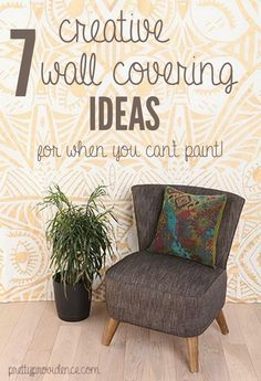 7 great wall coverings for when you can't paint! tapestries, temporary wallpaper, DIY removable fabric wallpaper, etc. lots of good ideas! www.prettyprovidence.com