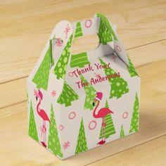 FLAMINGO Christmas Gable Boxes Personalised - christmas craft supplies cyo merry xmas santa claus family holidays